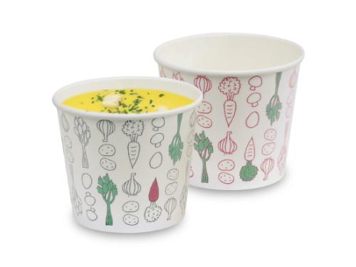 発泡断熱スープカップ・ベジタブル(2色アソート)